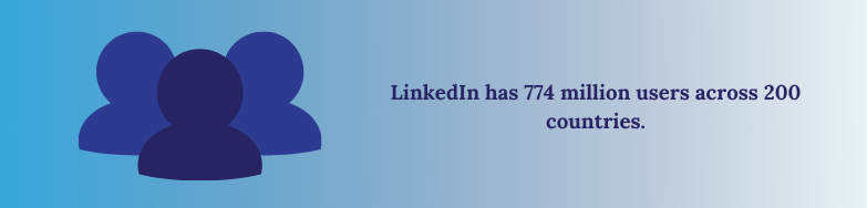LinkedIn has over 774 million users across 200 countries