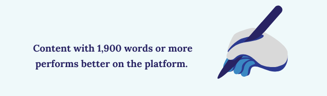 Content with more than 1,900 words performs better on the platform.